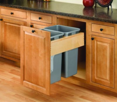 Rev-A-Motion™ 35-Quart Double Top-Mount Wood Pull-Out Waste Container