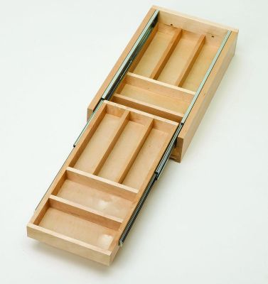 Tiered Double Cutlery Wood Drawer for 15