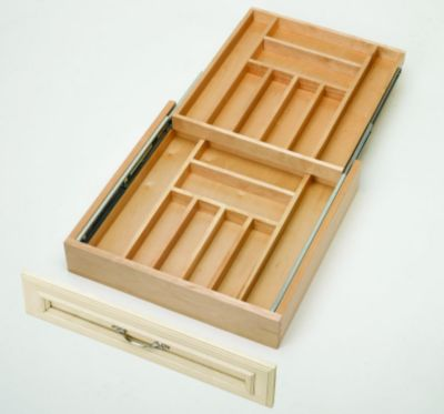 Tiered Double Cutlery Wood Drawer for 24