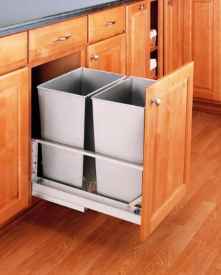 32-Quart Double Pull-Out Waste Container Set - Stainless Steel