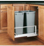 50-Quart Double Pull-Out Waste Container Set - Metallic Silver