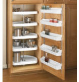 D-Shape Pantry Cabinet Shelves - Set of 5 with Shaft - White Polymer