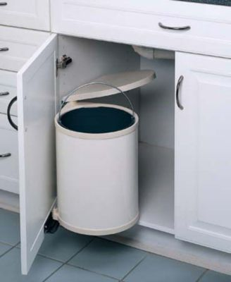 14-Liter Round Pivot-Out Waste Container - White Lacquered