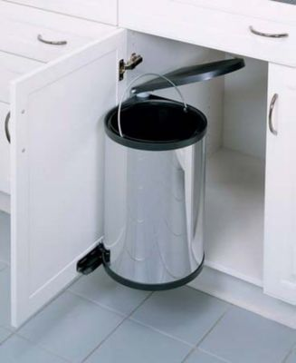 15-Liter Round Pivot-Out Waste Container - Stainless Steel