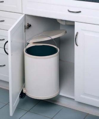 15-Liter Round Pivot-Out Waste Container - White Lacquered