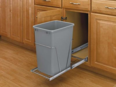 35-Quart Pull-Out Waste Container Set with Full-Extension Slides - Silver/Chrome