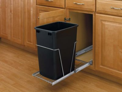 35-Quart Pull-Out Waste Container Set with Full-Extension Slides - Black/Chrome