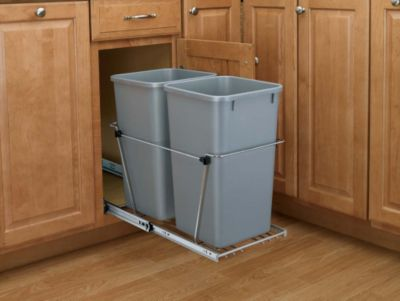 27-Quart Double Pull-Out Waste Container Set with Full-Extension Slides - Silver/Chrome