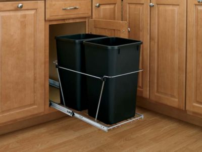 27-Quart Double Pull-Out Waste Container Set with Full-Extension Slides - Black/Chrome