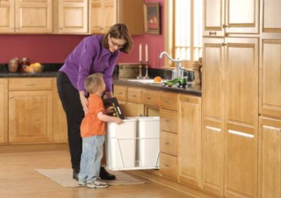 27-Quart Double Pull-Out Waste Container Set with Full-Extension Slides