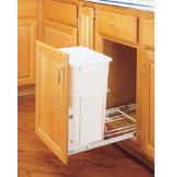 35-Quart Pull-Out Waste Container Set with 3/4-Extension Ball-Bearing Slides
