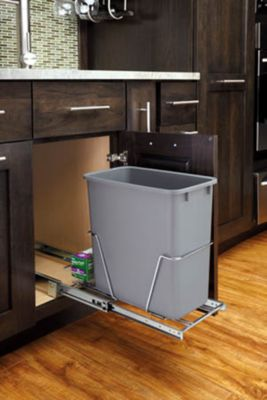 20 Quart Pullout Waste Container - Silver/Chrome