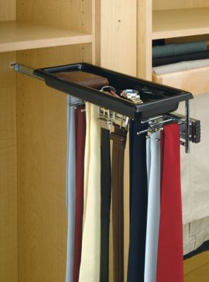Tie/Belt Rack with Tray - Chrome