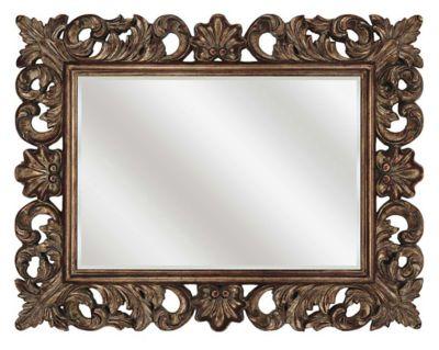 Scrolled Antique Gold Framed Beveled Mirror