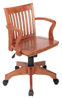 OSP® Designs Deluxe Wood Banker's Arm Chair with Wood Seat