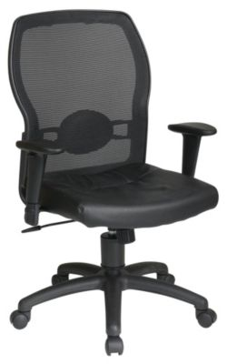 Woven Mesh Back & Leather Seat