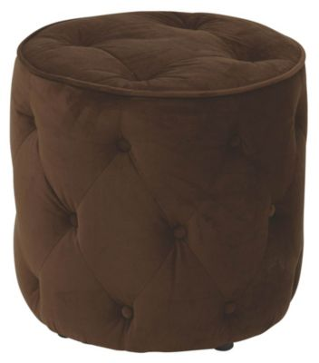 Ave • Six Curves Tufted Round Ottoman - Chocolate Velvet