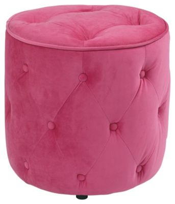 Ave • Six Curves Tufted Round Ottoman - Pink Velvet