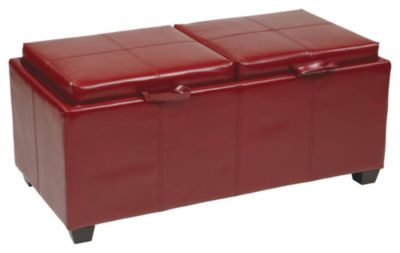 Storage Ottoman with Dual Trays & Seat Cushions