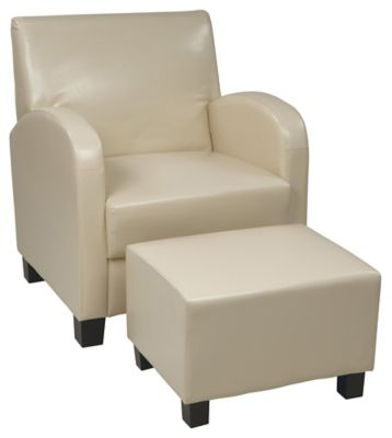 Faux Leather Club Chair with Ottoman