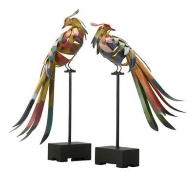 Multicolored Birds Sculpture-Set of 2