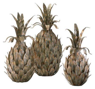 Variegated Pineapples Sculpture-Set of 3