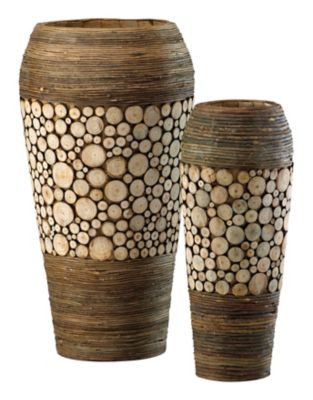 Wood Slice Oblong Vases