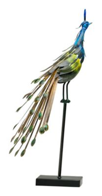 Peacock on Stand Sculpture