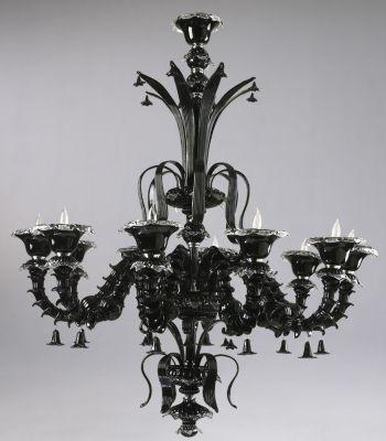 Venetian Noir 10-Lamp Chandelier