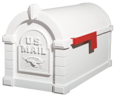 Eagle Keystone Series® Mailbox - White with Red Flag