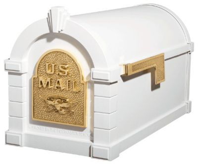Eagle Keystone Series® Mailbox - White with Polished Brass
