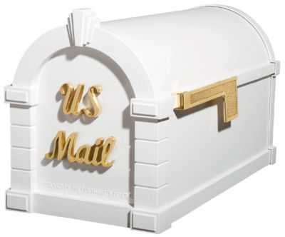 Signature Keystone Series® Mailbox - White with Polished Brass
