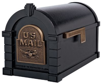 Eagle Keystone Series® Mailbox - Black with Antique Bronze
