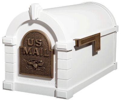 Eagle Keystone Series® Mailbox - White with Antique Bronze