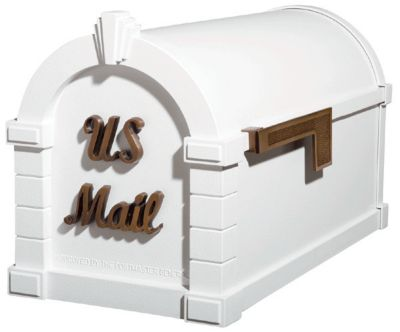 Signature Keystone Series® Mailbox - White with Antique Bronze