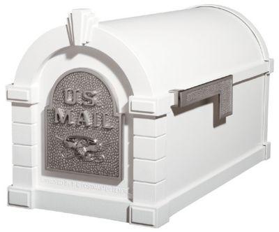 Eagle Keystone Series® Mailbox - White with Satin Nickel