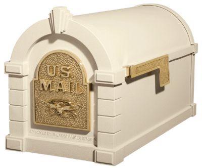 Eagle Keystone Series® Mailbox - Almond with Polished Brass