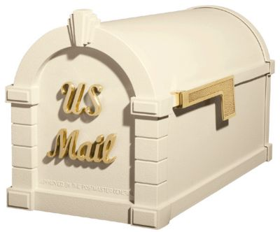 Signature Keystone Series® Mailbox - Almond with Polished Brass