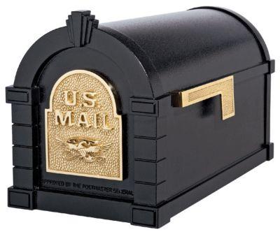 Eagle Keystone Series® Mailbox - Black with Polished Brass