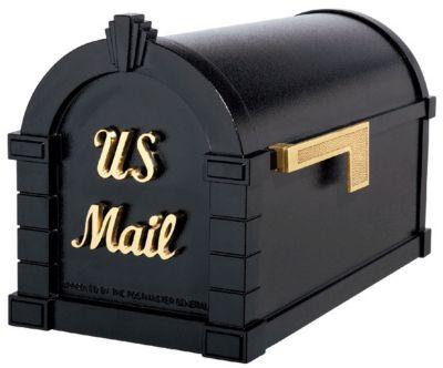 Signature Keystone Series® Mailbox - Black with Polished Brass