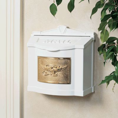 Wallmount Mailbox Eagle Design - White with Polished Brass