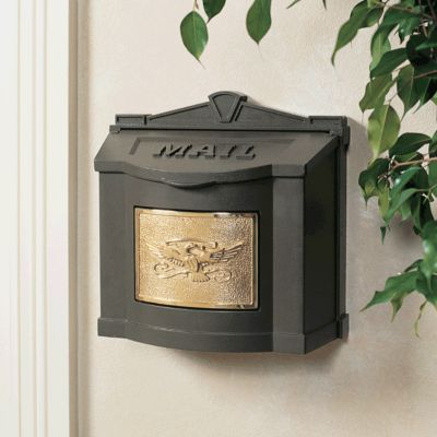 Wallmount Mailbox Eagle Design - Bronze with Polished Brass