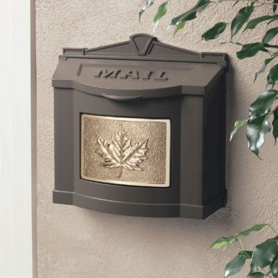 Wallmount Mailbox Leaf Design - Bronze with Polished Brass