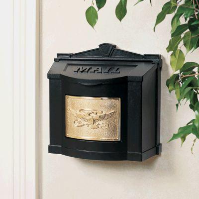 Wallmount Mailbox Eagle Design - Black with Polished Brass