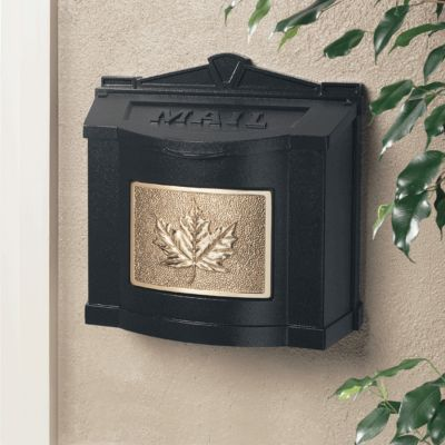 Wallmount Mailbox Leaf Design - Black with Polished Brass