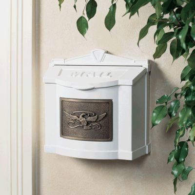 Wallmount Mailbox Eagle Design - White with Antique Bronze