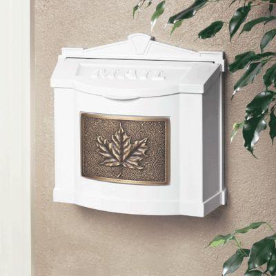 Wallmount Mailbox Leaf Design - White with Antique Bronze