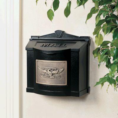 Wallmount Mailbox Eagle Design - Black with Antique Bronze