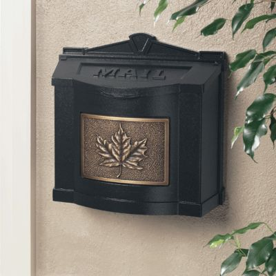 Wallmount Mailbox Leaf Design - Black with Antique Bronze