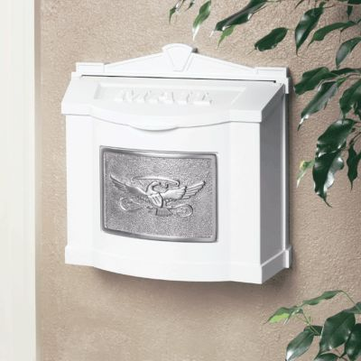 Wallmount Mailbox Eagle Design - White with Satin Nickel